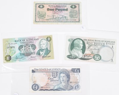 Lot 35-Selection of banknotes from Malta, Scotland and Ireland.