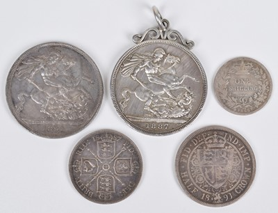 Lot 45-Quantity of silver coins to include 1891 Victoria silver crown and three Dutch silver coins.