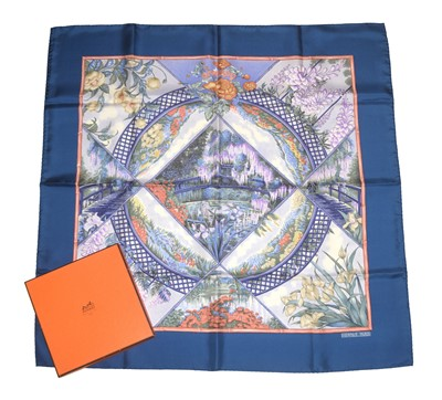 "Lot 65 - A Hermès ""Giverny"" silk scarf by Laurence Bourthoumieux"