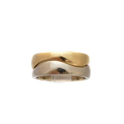 Lot -A pair of 18ct gold stacking 'Wave' rings by Cartier
