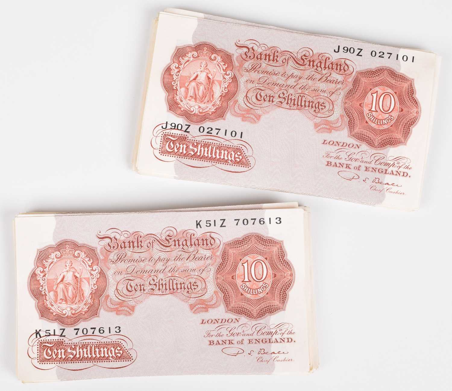 """Lot 28-Sixty-eight Ten Shillings banknotes, Series """"A"""" Britannia Issue (68)."""