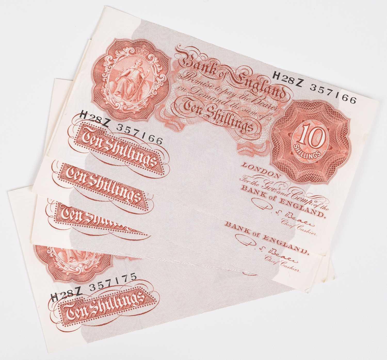 "Lot 27-Ten consecutive Ten Shillings banknotes, Series ""A"" Britannia Issue (10)."