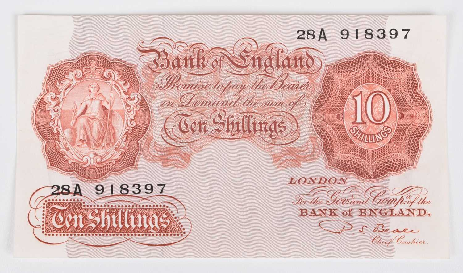 """Lot 29-One Bank of England, Ten Shillings, Series """"A"""" Britannia Issue Replacement banknote, UNC."""