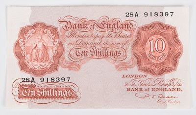"Lot 29-One Bank of England, Ten Shillings, Series ""A"" Britannia Issue Replacement banknote, UNC."