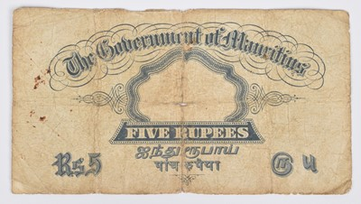 Lot 32-King George V, Five Rupees, Mauritius banknote, very rare.