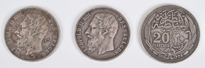 Lot 40-Selection of five world silver coins to include Victoria 1883 shilling (5).