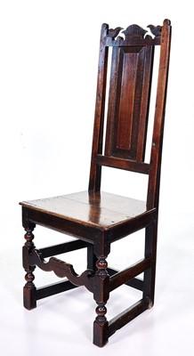 Lot 373 - 17th-century oak back stool