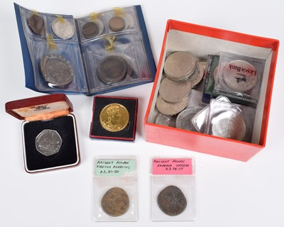 Lot 16-An assortment of historical/ world coinage to include cased Royal Mint Silver Proof Crowns.
