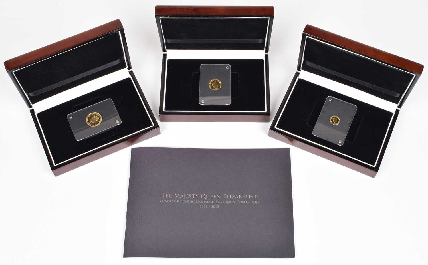 Lot 10-The London Mint Office, Longest Reigning Monarch Sovereign Set of Full, Half, Quarter.