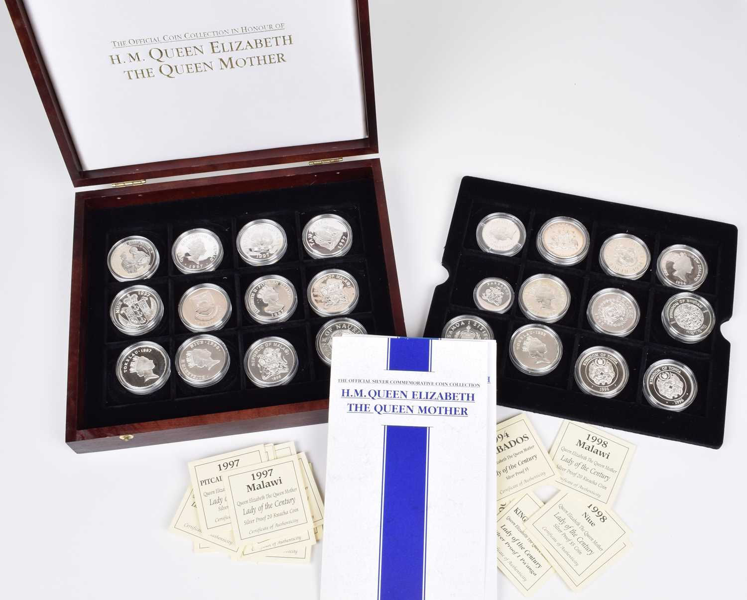 Lot 13-Cased set of silver proof coins celebrating the life of The Queen Mother (24).