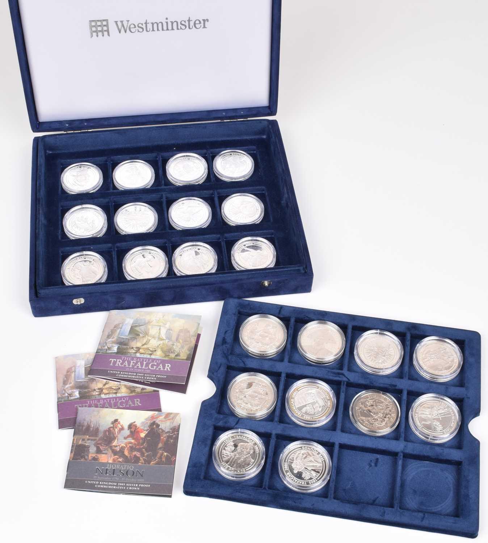 Lot 15-Cased set of silver proof 2005 Trafalgar Commemorative coins (22).