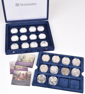 Lot 15-Cased set of silver proof 2005 Trafalgar Commemorative coins (22).