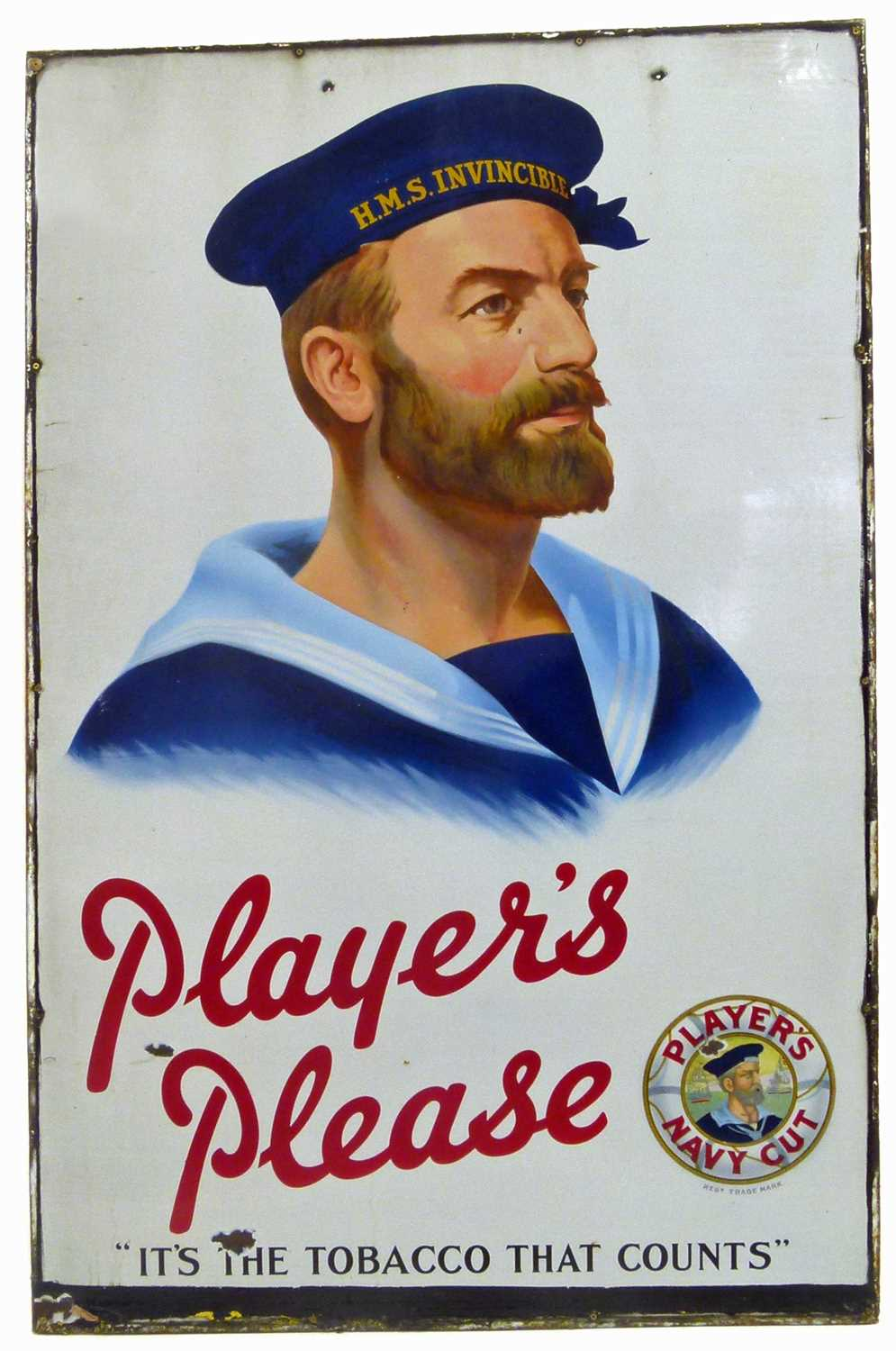 Lot 46 - A large 'Players Please' enamelled sign