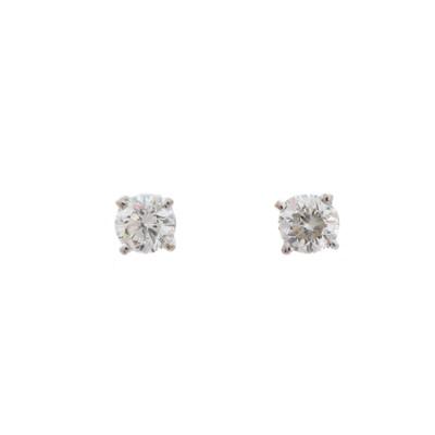 Lot 70 - A pair of brilliant-cut diamond stud earrings