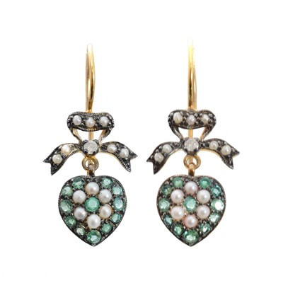 Lot 78 - A pair of emerald, seed pearl and diamond earrings