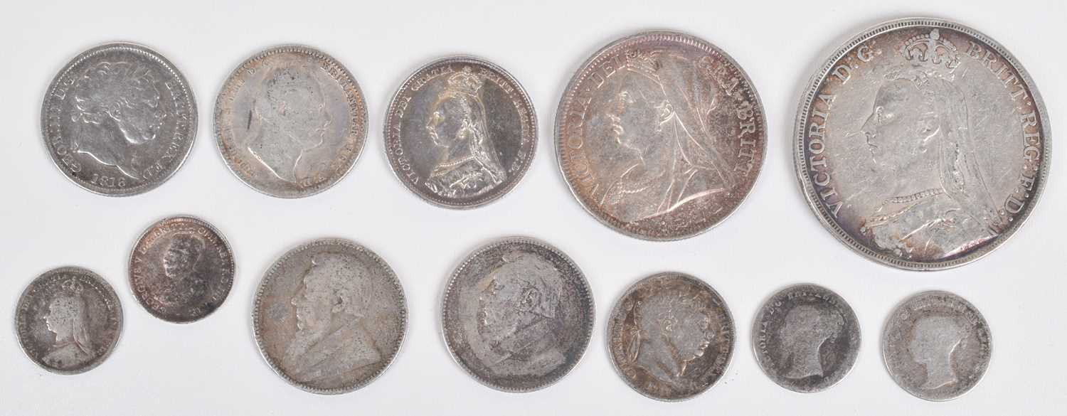 Lot 37-Selection of silver mainly British historical coinage to include Queen Victoria, Crown, 1889.