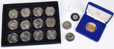 Lot 7-Cased silver proof coin sets and an assortment of other cupro-nickel coins.