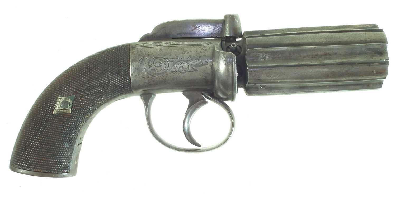 Lot 12-Percussion pepperpot pistol