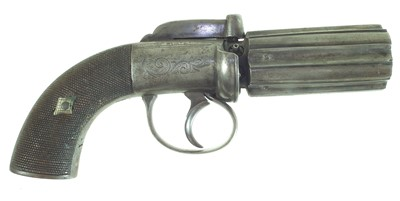 Lot 12-Percussion pepperpot pistol