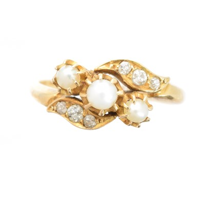 Lot 172 - An early 20th century 18ct gold pearl and diamond dress ring