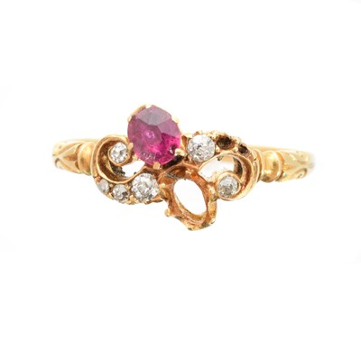 Lot 95 - A Victorian 18ct gold ruby and diamond ring
