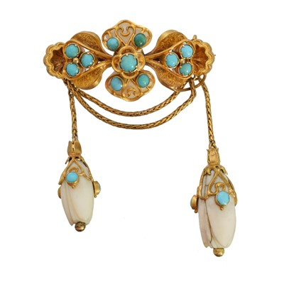 Lot 30 - A Victorian turquoise and ivory brooch