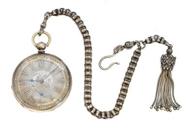Lot 82 - A white metal open face pocket watch
