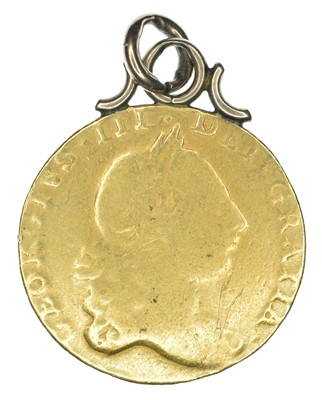 Lot 45 - King George III, Guinea, 1764, pendant, mounted, rare.