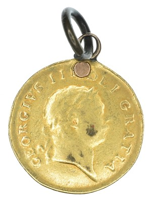 Lot 51 - King George III, Half-Guinea, 1804, pendant mounted and plugged.