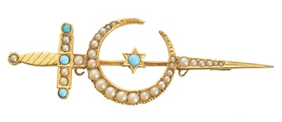 Lot 36 - An early 20th century split pearl crescent brooch