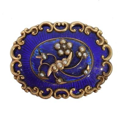 Lot 10 - A Victorian enamel diamond and split pearl brooch