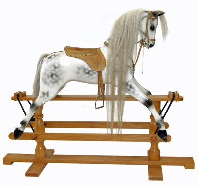 Lot 45-Modern white painted and dappled rocking horse