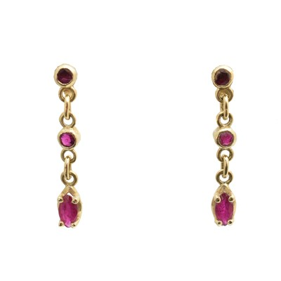 Lot 44-A pair of 14ct gold ruby drop earrings
