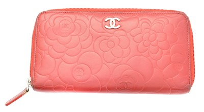 Lot 4-A Chanel Floral Embossed Zip Around Wallet
