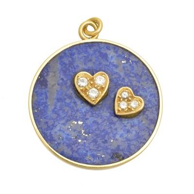 Lot 94 - An 18ct gold diamond and lapis lazuli pendant