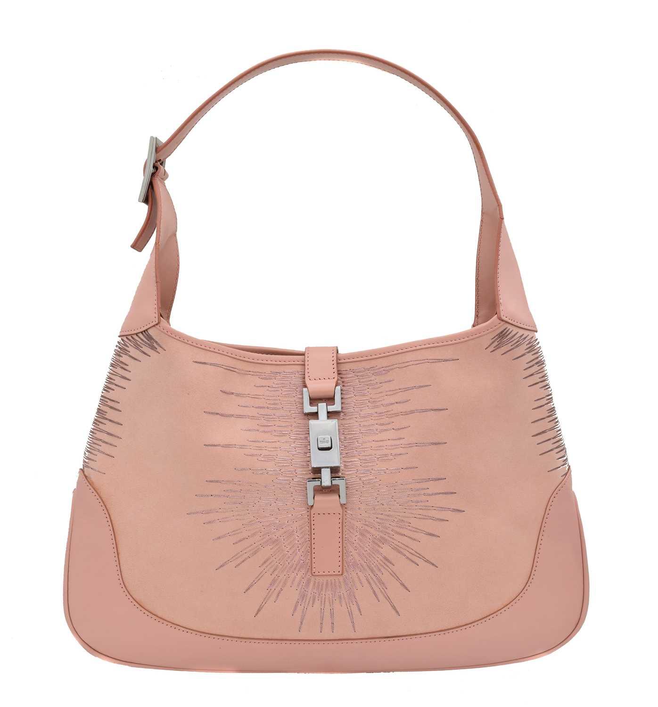 Lot 12 - A Gucci Jackie light pink suede leather shoulder bag