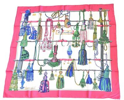 """Lot 77 - A Hermès """"Pasementerie"""" silk scarf by Francoise Heron"""
