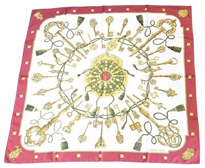 "Lot 5-A Hermès ""Les Cles"" silk scarf by Cathy Latham"