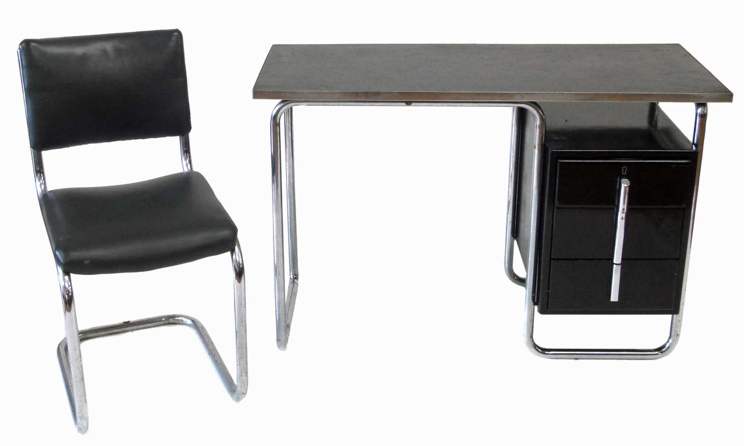 206 - PEL desk by Wells Coates, chrome and black lacquered writing desk and chair.