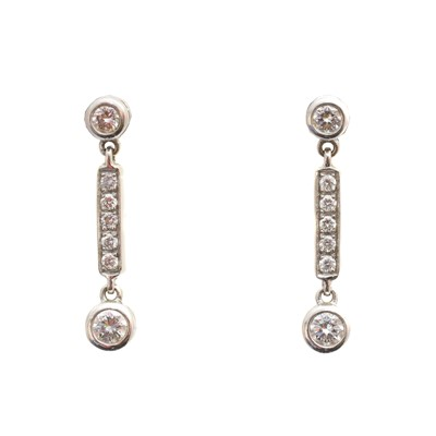 Lot 44 - A pair of 18ct gold diamond earrings