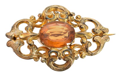 Lot 32 - A Victorian citrine brooch