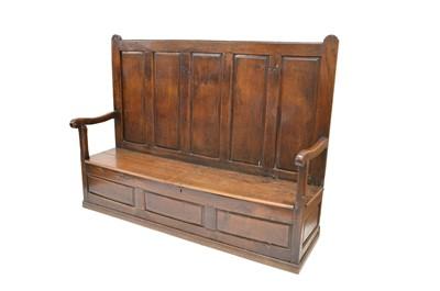 Lot 394 - 18th-century oak box settle