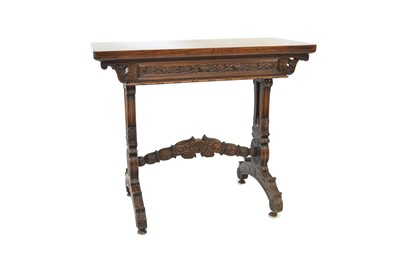 Lot 408 - 19th Century hardwood Anglo Indian hardwood foldover card table