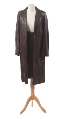 Lot 1-A leather coat and skirt by Mulberry