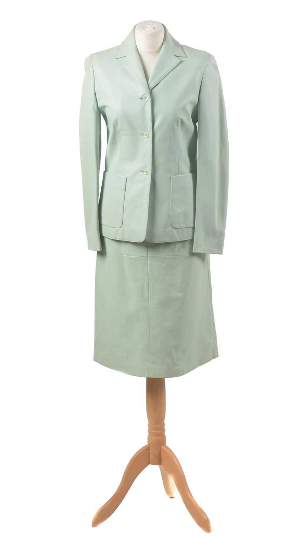 Lot A mint green leather set by Escada Sport