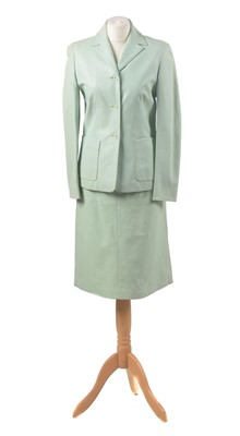 Lot A mint green leather set by Escada Sport
