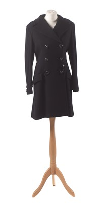 Lot 41-A black wool coat by Gianni Versace Couture