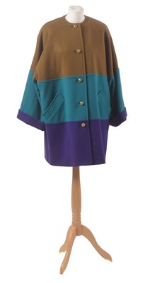 Lot 84 - A tri-colour wool coat by Caroline Charles