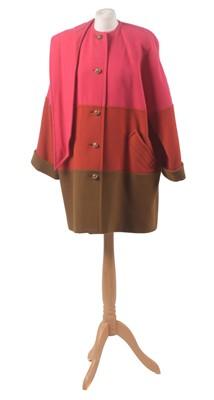 Lot 28-A tri-colour wool coat by Caroline Charles