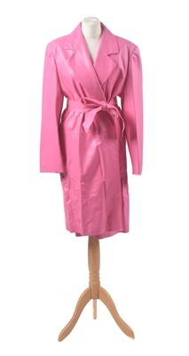 Lot 39-A pink leather coat by Louis Feraud